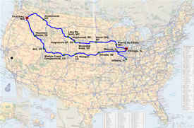 US Map with Route