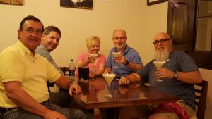 Members of our tour group having our first Pisco Sours